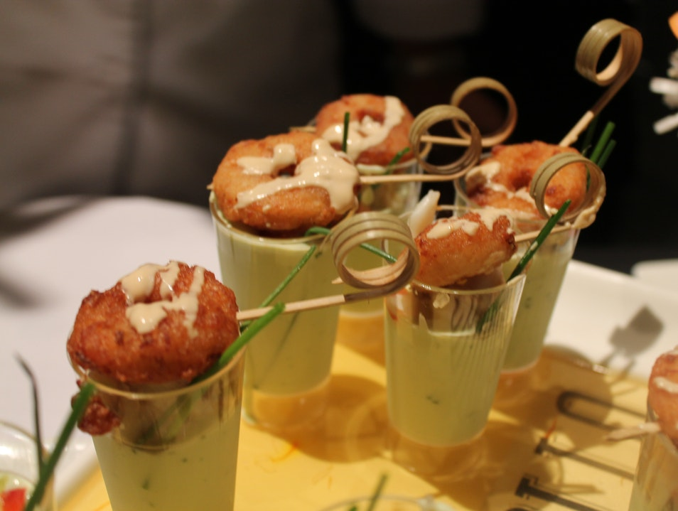 Crabmeat Donuts with Avocado Shooters