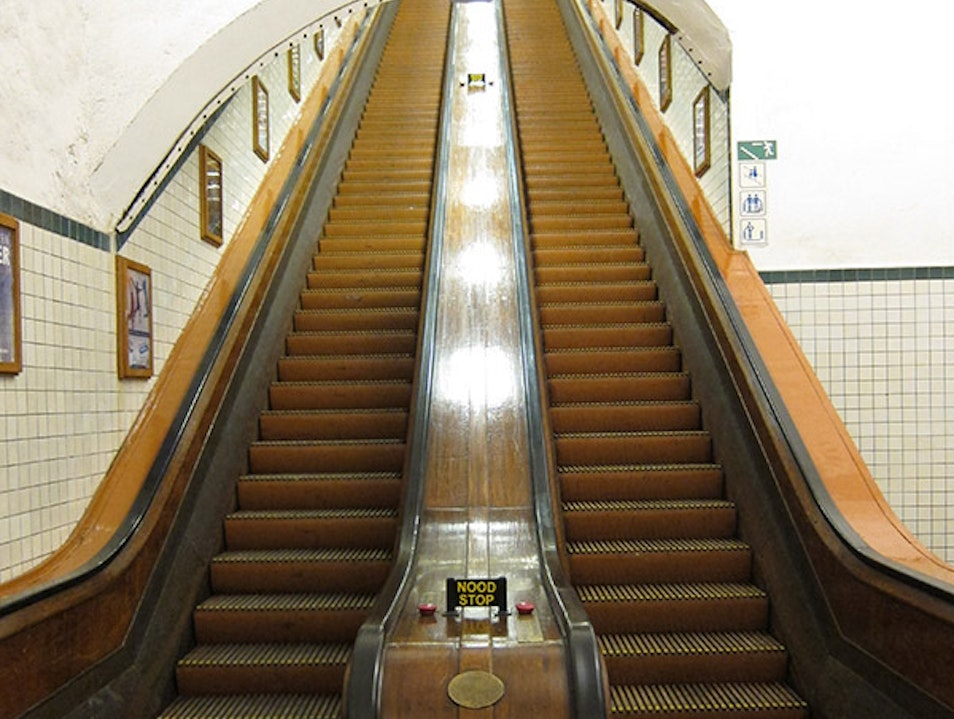 Wooden Escalators to the St. Anna Tunnel Antwerp  Belgium