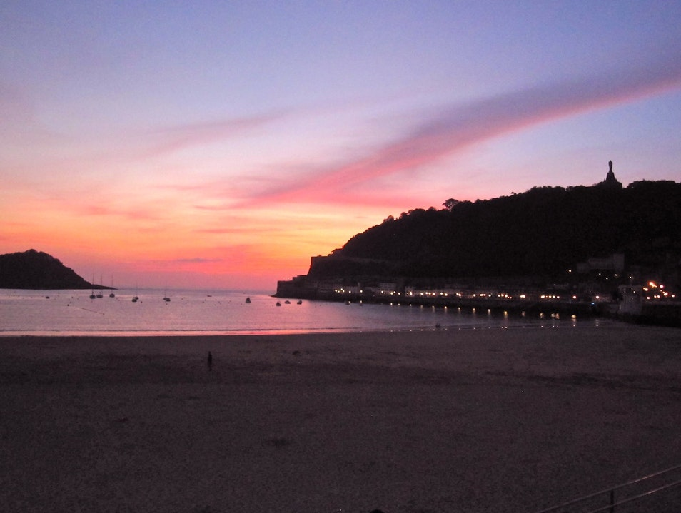 Sunset at the Playa de la Concha San Sebastian  Spain
