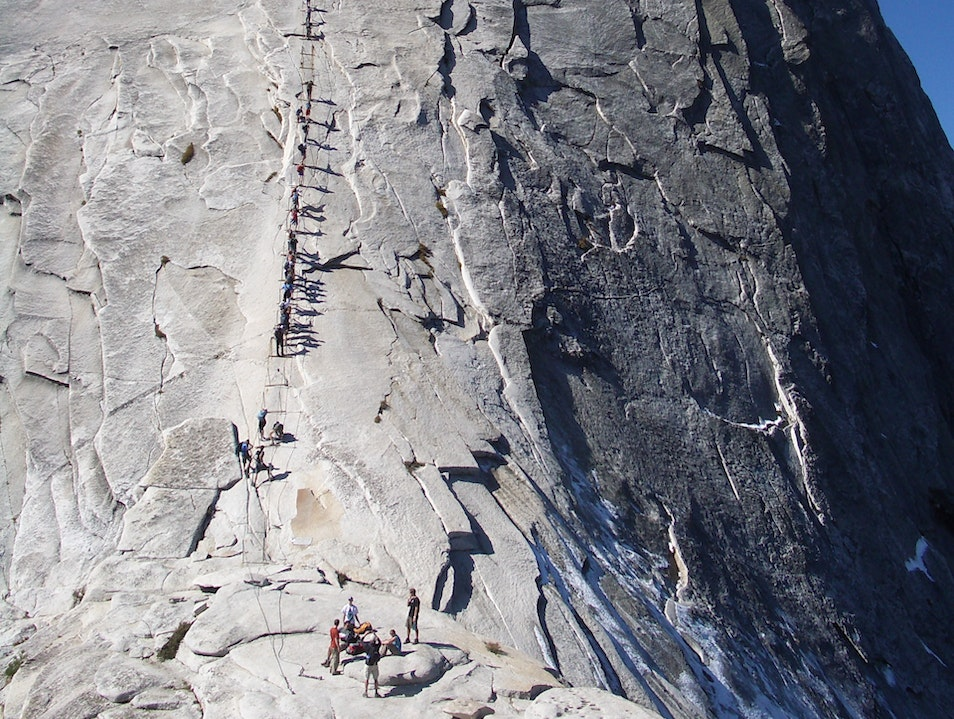 Climbing the Cables at Half Dome Yosemite Valley California United States