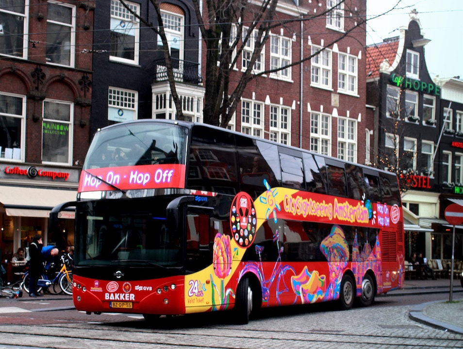 In the Red: Amsterdam via Doubledecker Bus Amsterdam  The Netherlands