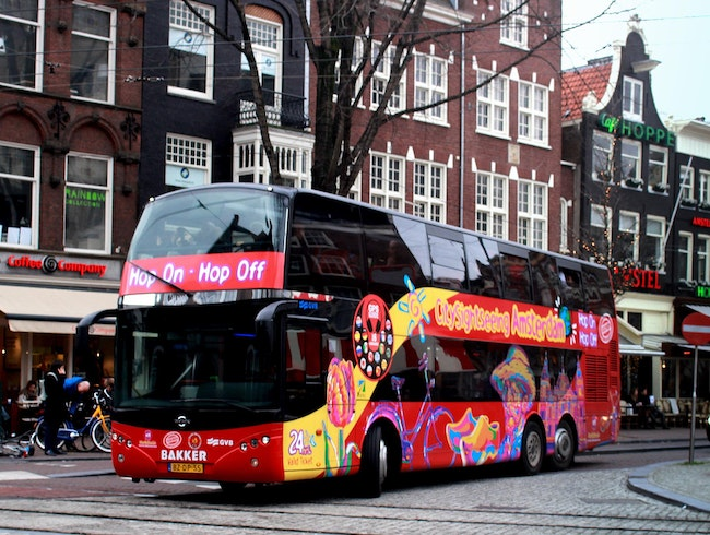 In the Red: Amsterdam via Doubledecker Bus