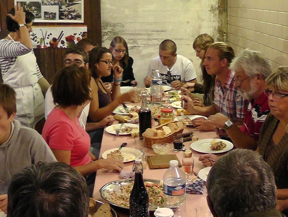 Dinner with the Harvest Crew in Champagne