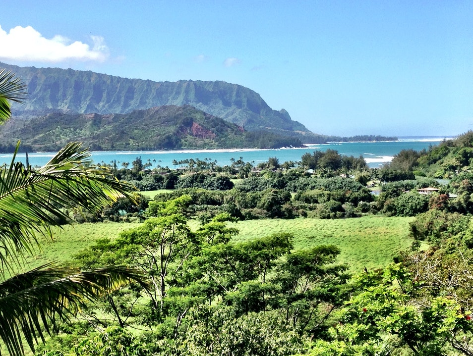 Iconic view of Hanalei Bay from Princeville Hanalei Hawaii United States