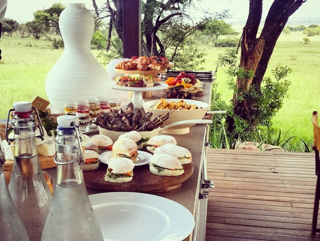 A lunch buffet at Singita Serengeti House