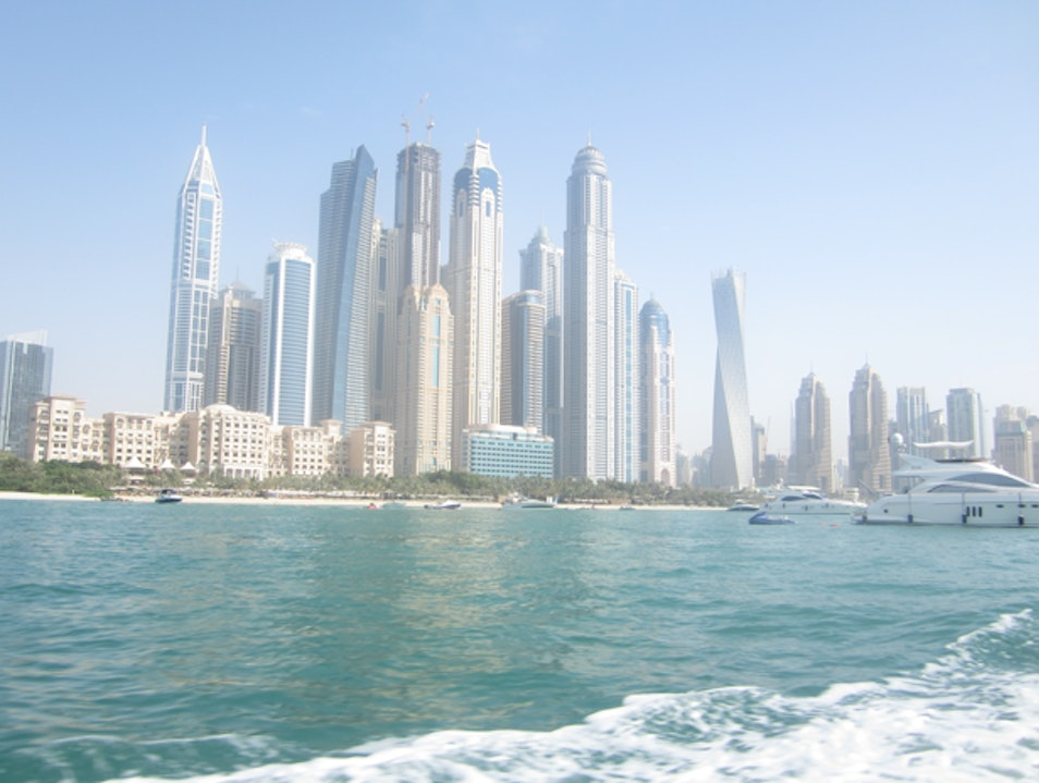 Summer cruise around the Dubai Marina and Palm Jumeirah Dubai  United Arab Emirates
