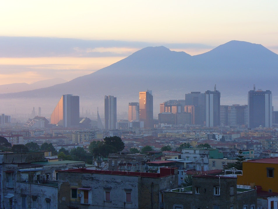Mount Vesuvius looming over the city of Naples Naples  Italy