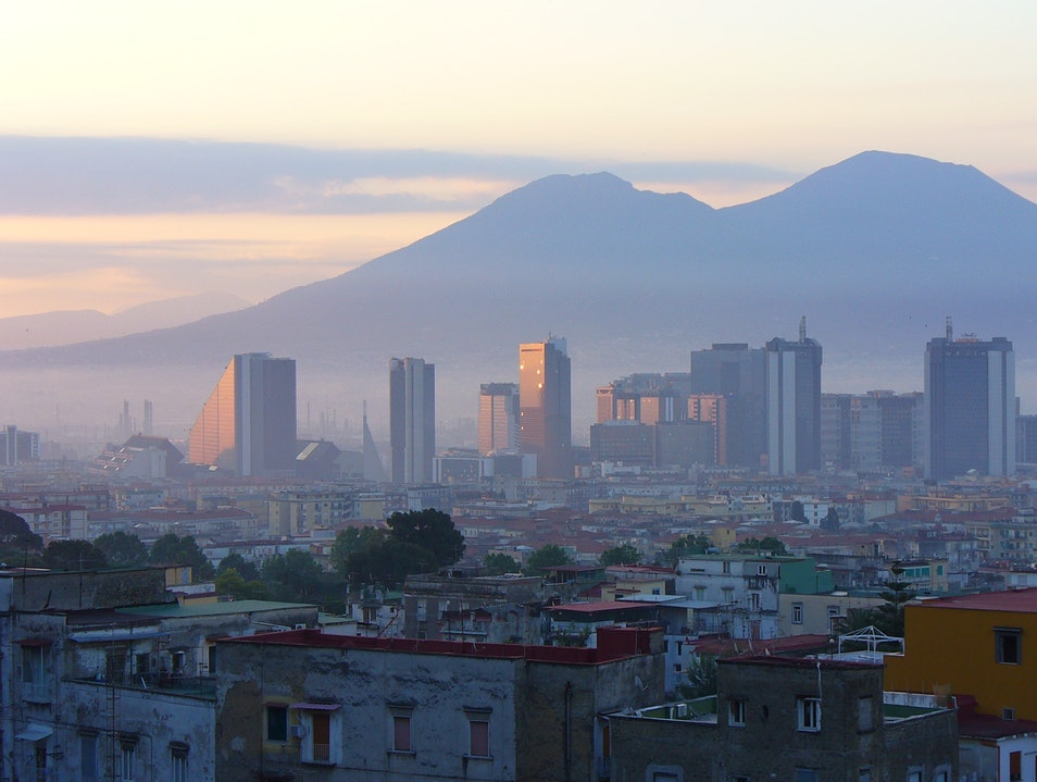 Mount Vesuvius looming over the city of Naples