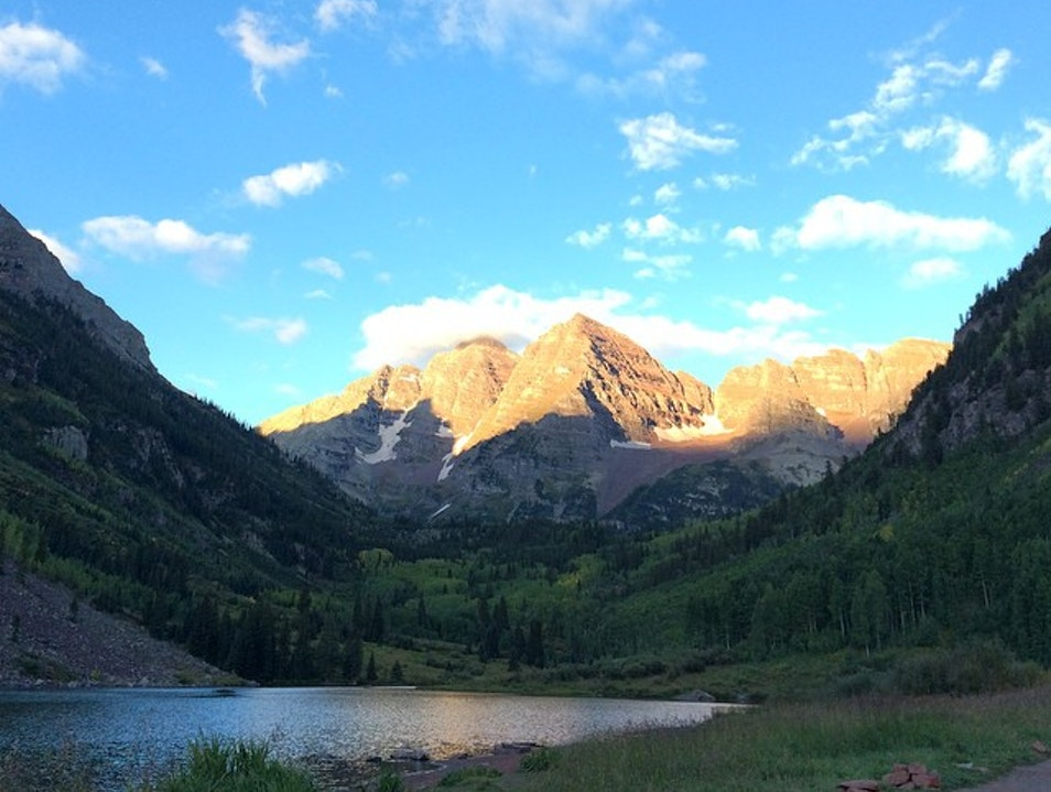 Scenic Morning at Maroon Bells Lake Snowmass Colorado United States