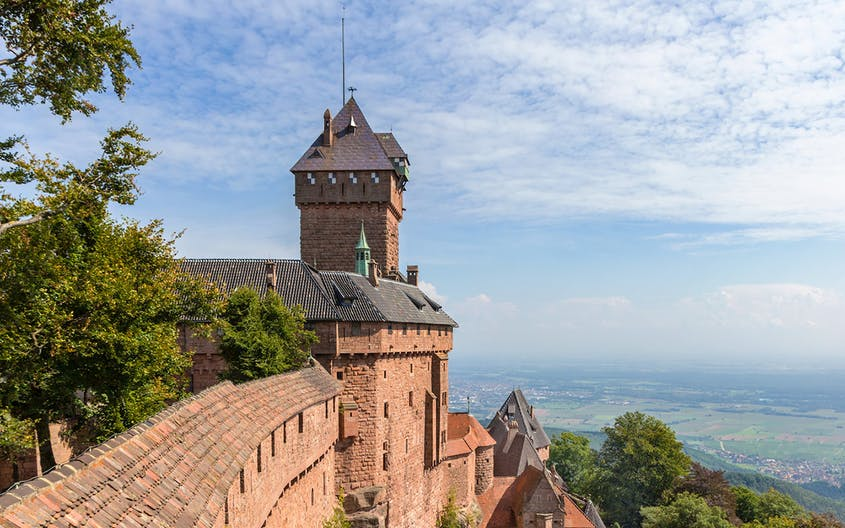 From Château du Haut-Koenigsbourg, you can see as far as the Black Forest in Germany.