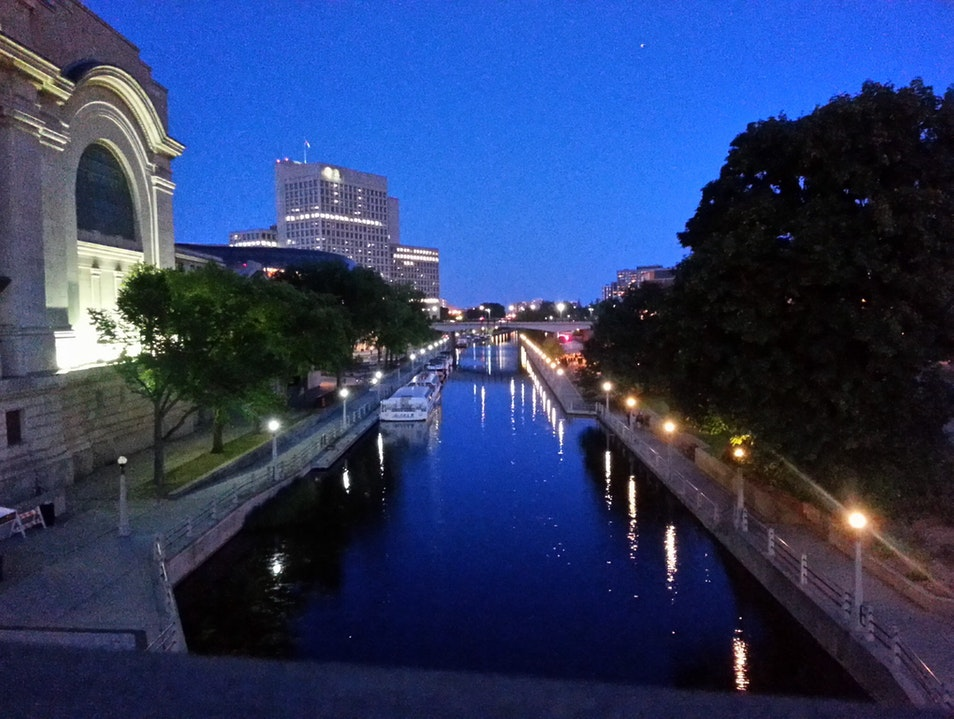 Evening stroll over the Rideau Ottawa  Canada