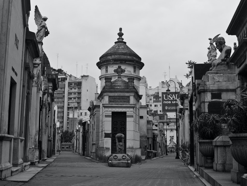 Wander through mausoleums in La Recoleta Cemetary Buenos Aires  Argentina