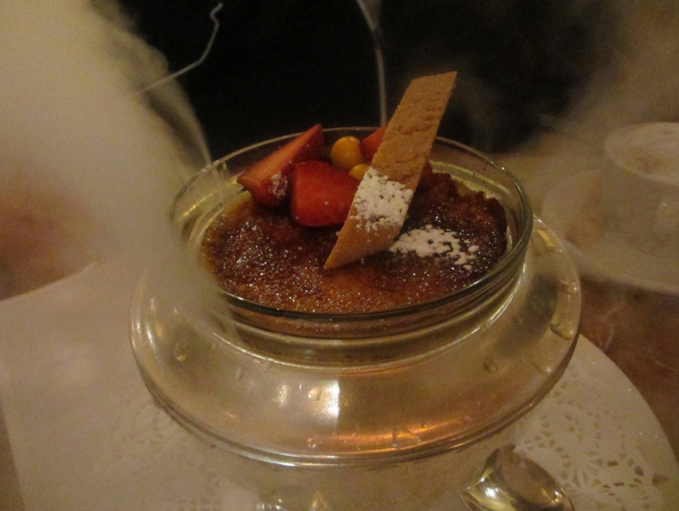 Creme Brûlée served over dry ice