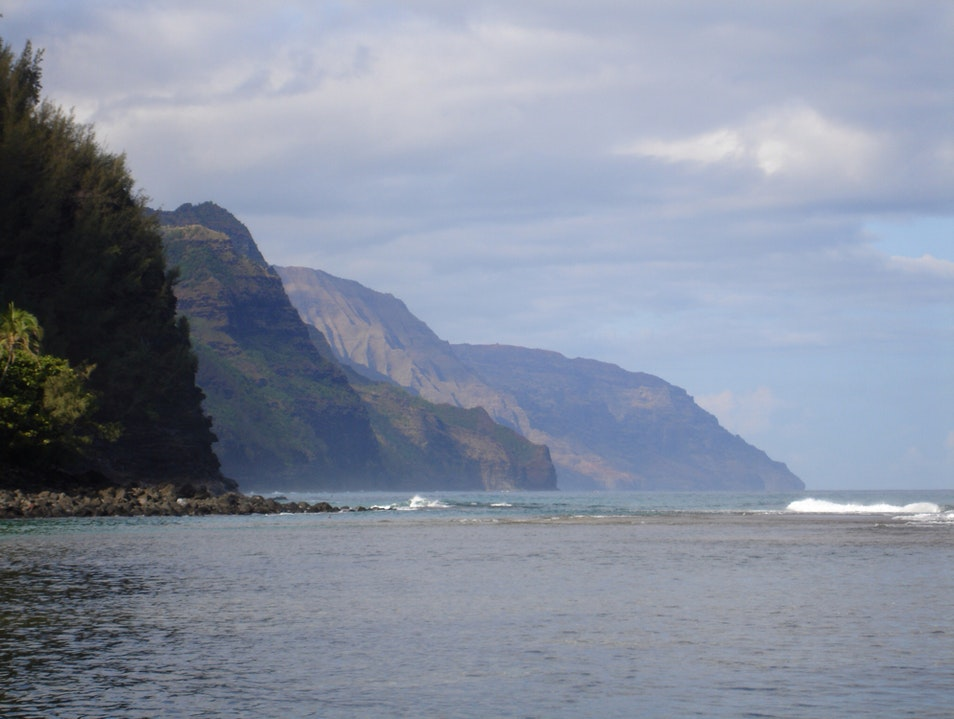 View Of Napali Coast From Ke'e Beach, N Shore Kauai  Hawaii United States