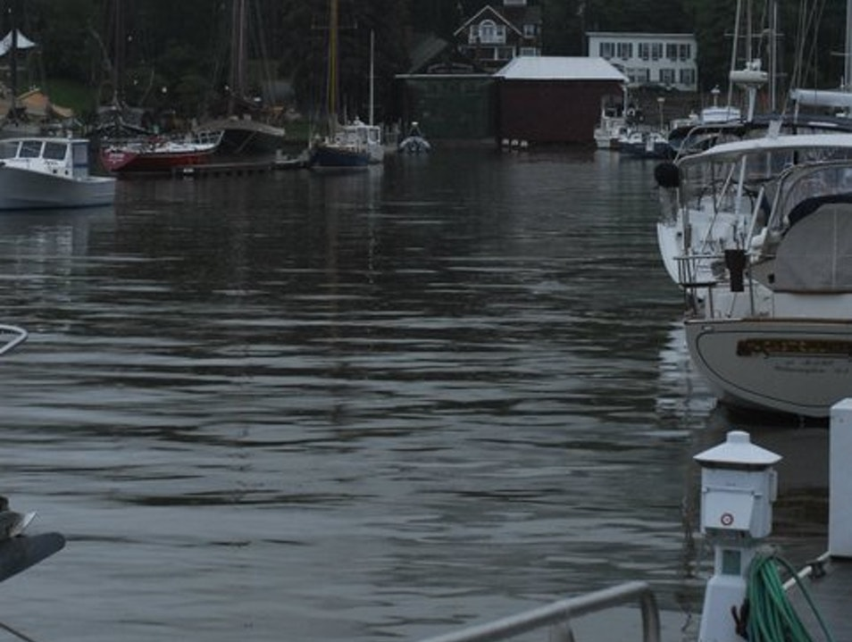 Camden Harbor on a foggy afternoon. Camden Maine United States