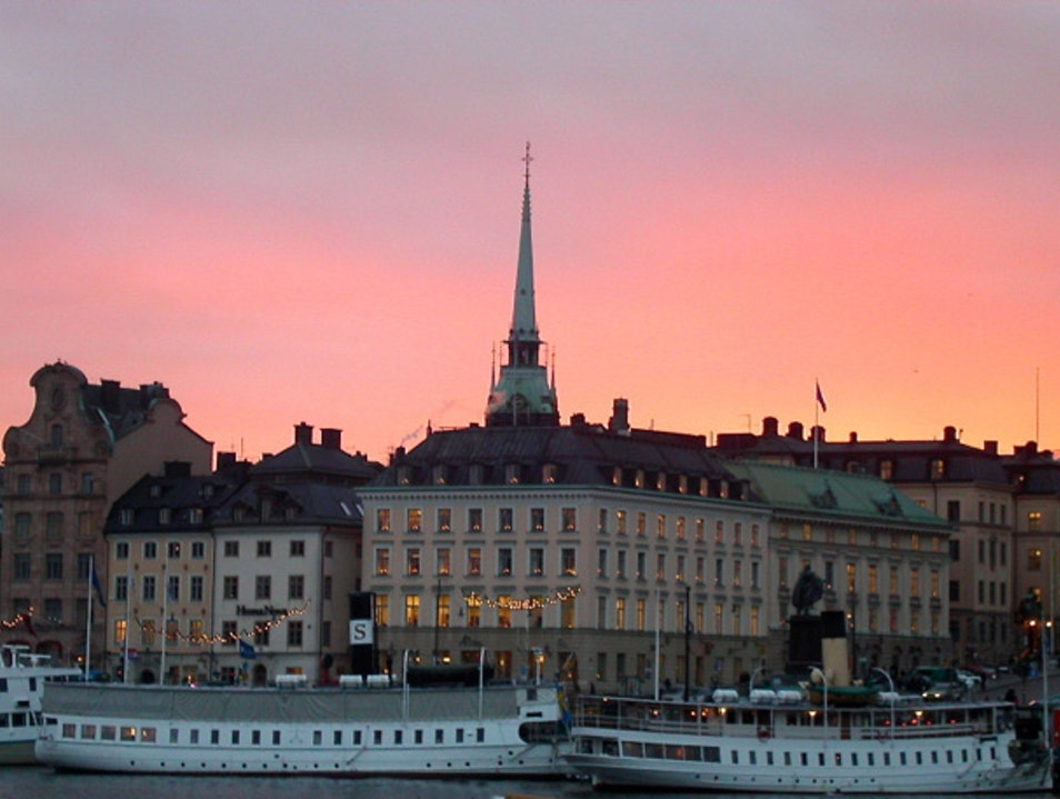 Wintry Afternoon at Dusk in Gamla Stan Stockholm  Sweden