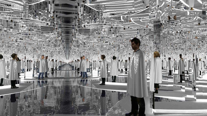 """The """"Forest of Us"""" installation by stage designer Es Devlin features a mirrored maze that depicts the human respiratory system, as well as the inner structure of trees."""