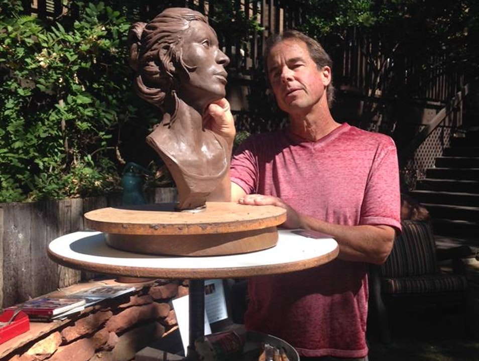 Goldenstein Gallery Artist Kevin McCarthy Sculpting in Residence at L'Auberge de Sedona Sedona Arizona United States