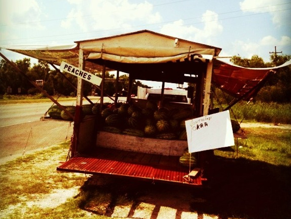 Road Side Farmers Traveling Fruit Stand Gramercy Louisiana United States