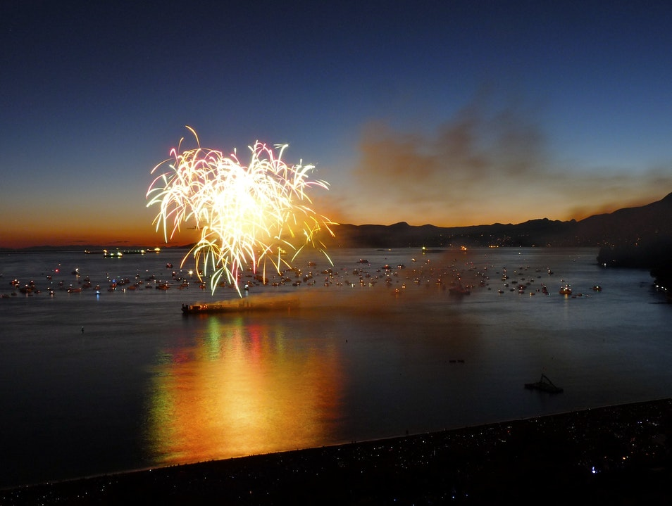 Fabulous Fireworks Over English Bay Vancouver  Canada