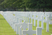 the gravemarkers at the American Cemetery at Colleville sur Mer
