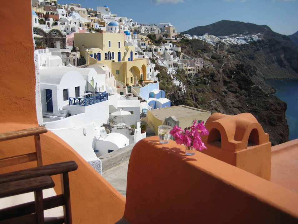 A balcony at the footsteps of heaven! Oia  Greece