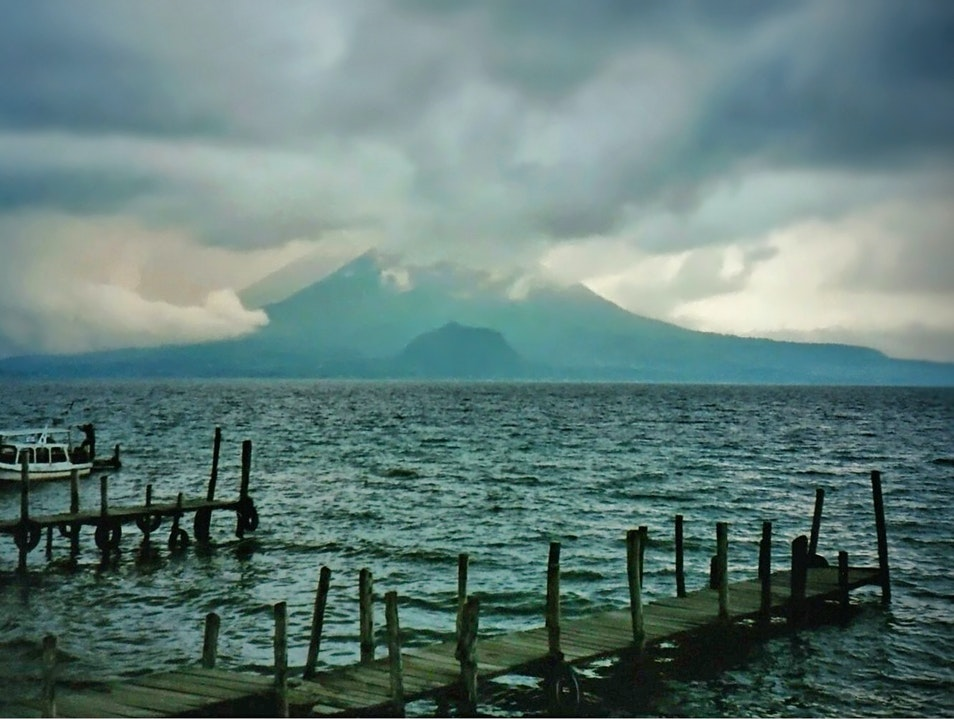 storm clearing over the volcanoes, Lake Atitlán