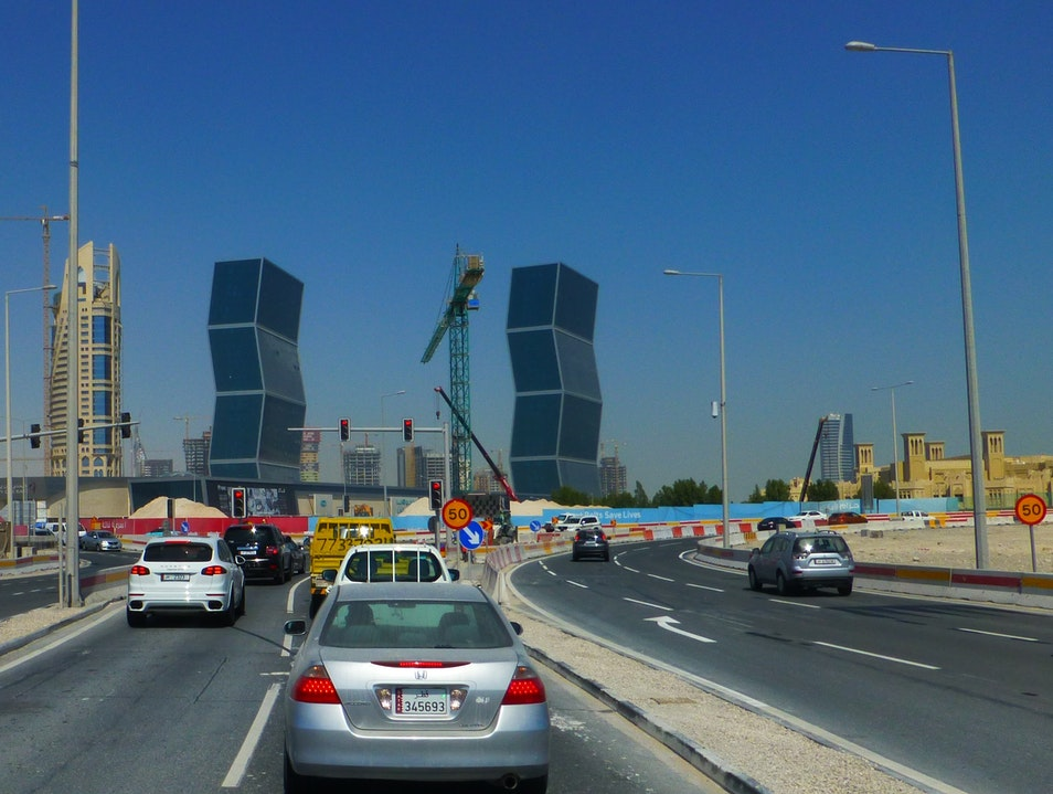 Buildings zig-zagging their way up into the air Doha  Qatar