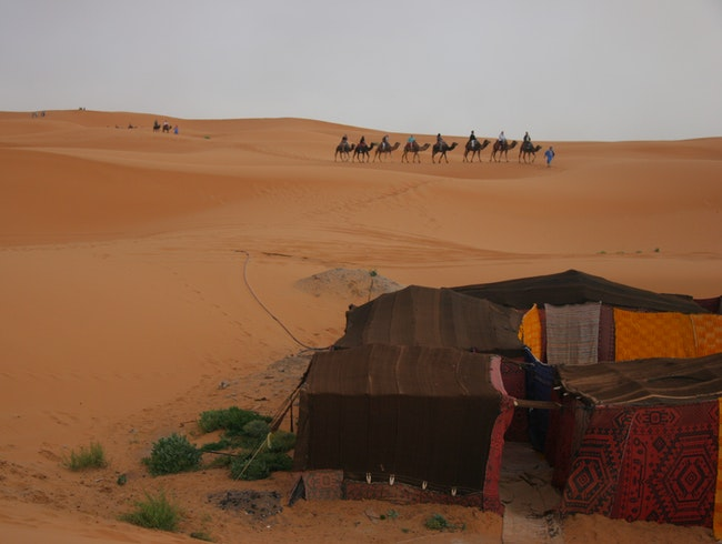 Our tent and caravan in the Sahara.
