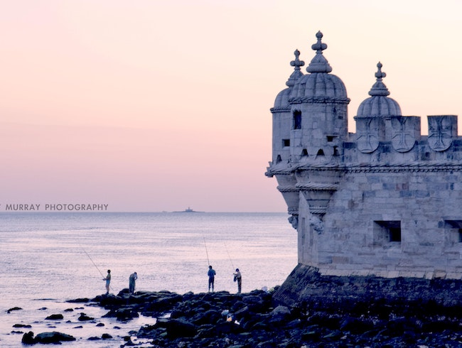 Tower of Belem at sunset.