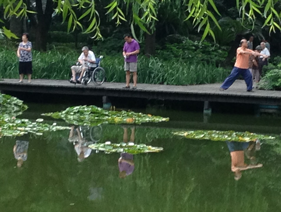 Morning Exercises in Jing'an Park Shanghai  China