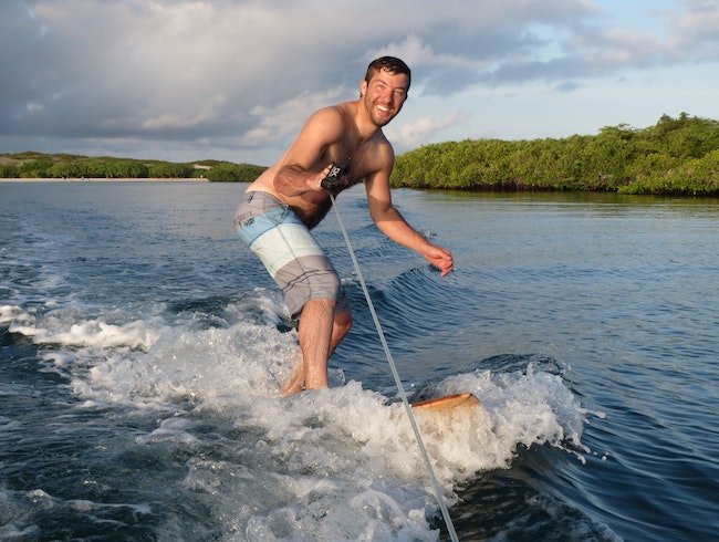Wakesurfing in the Galapagos