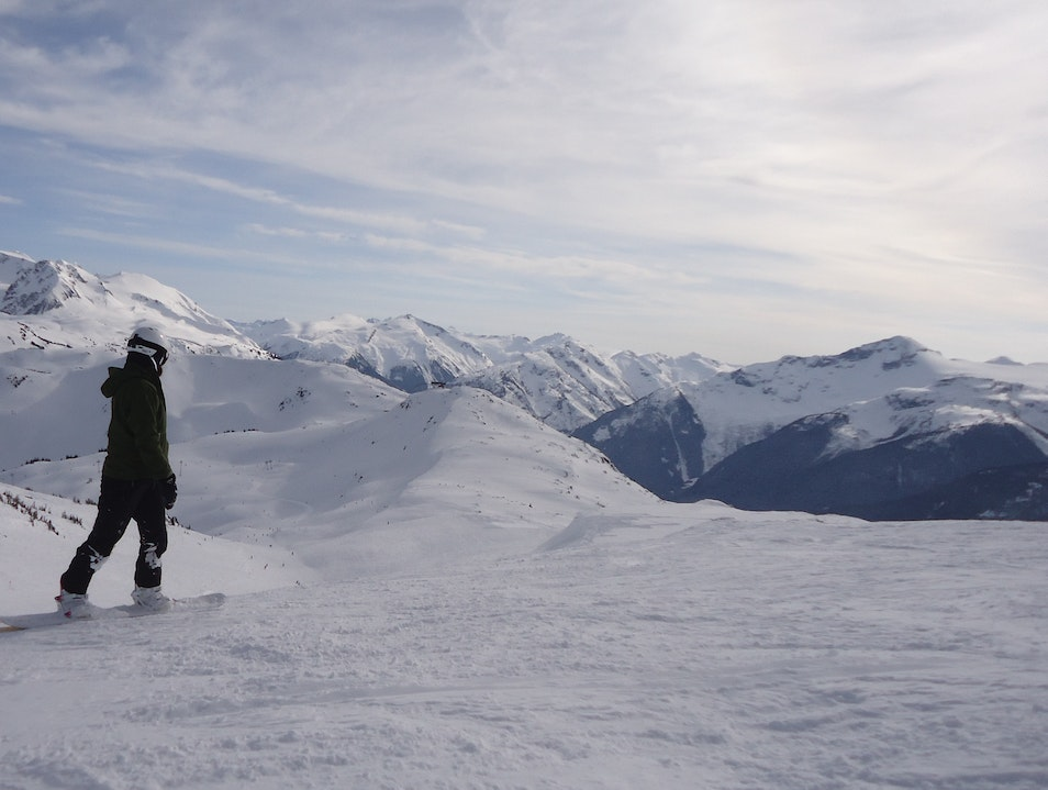 Snowboarding on Olympic Peaks Whistler  Canada