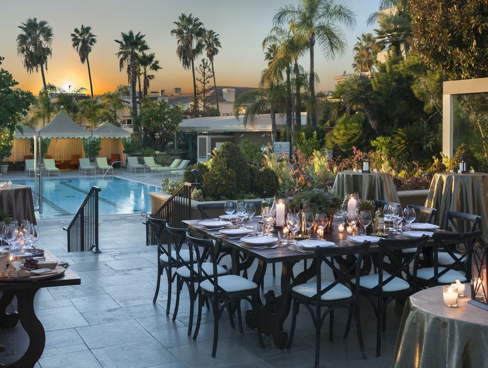 Poolside dinner at Four Seasons Hotel Los Angeles at Beverly Hills