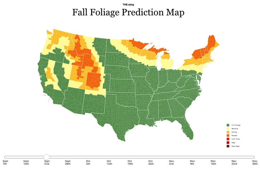 New York Fall Foliage 2020 Predictions.Fall Foliage Prediction Map 2019 Here S When To Expect Peak