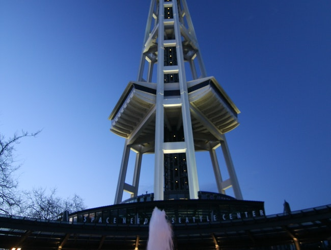 The Space Needle at dusk