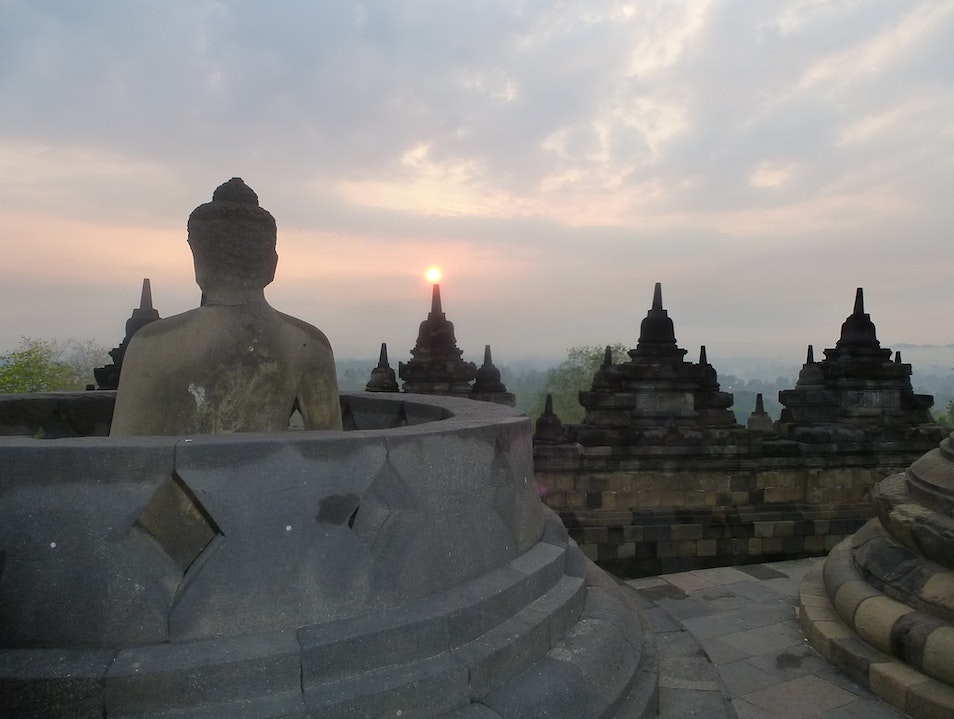 Embracing the Sunrise at Borobudur Borobudur  Indonesia