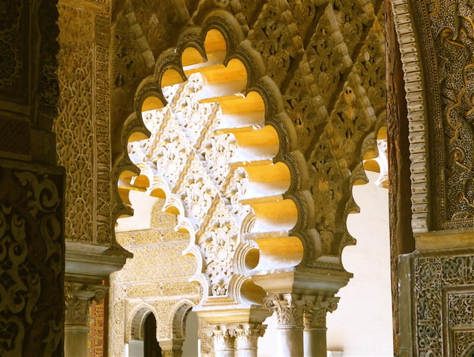 Passages of the royal palace in Seville, Spain