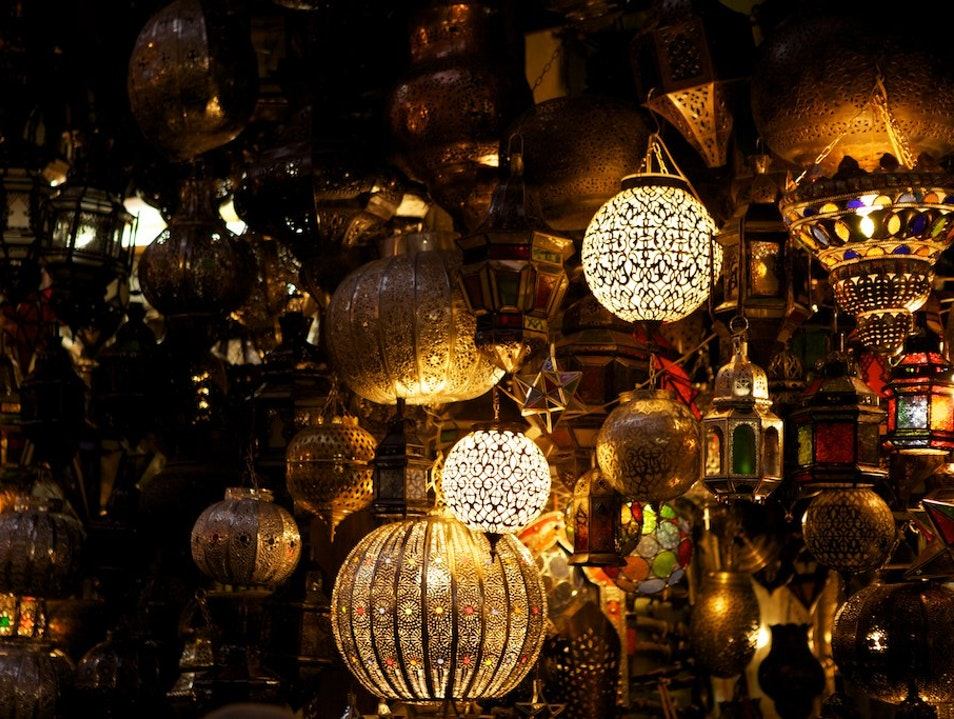 Shopper's delight in the souqs Marrakech  Morocco