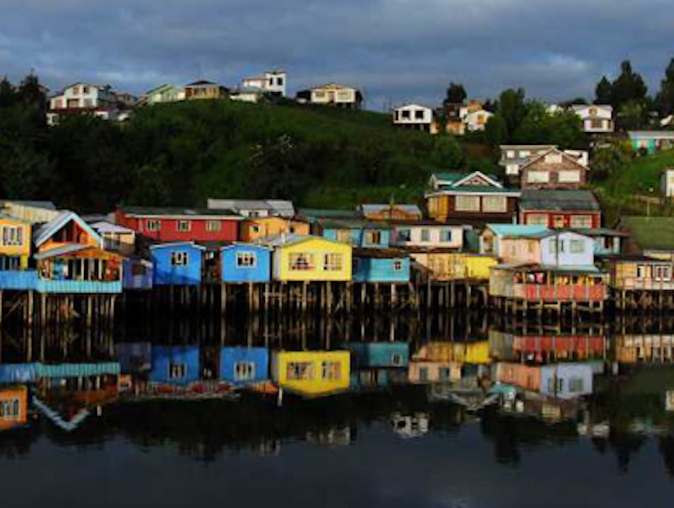 Colorful Stilt Homes in Castro Castro  Chile