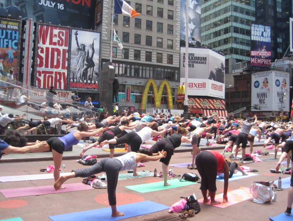 Yoga in the Middle of Times Square New York New York United States