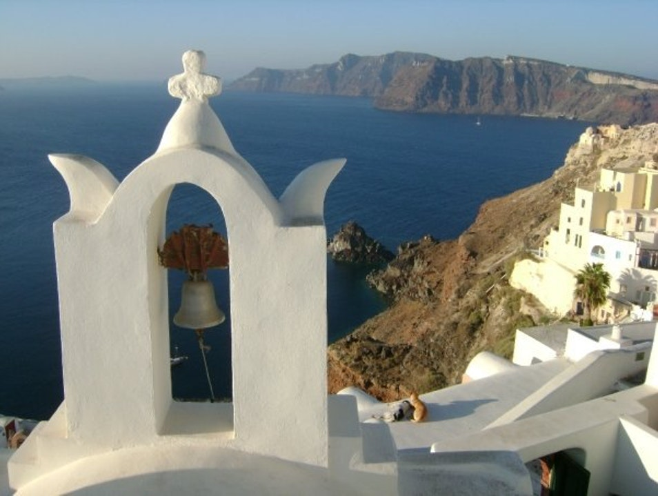Overlooking the Mediterranean Sea Thira  Greece