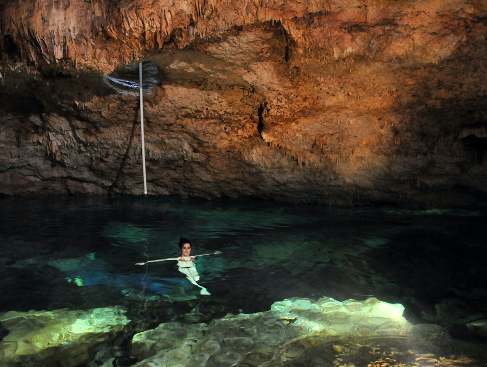 Swimming in a Mexican Cenote Yucatan  Mexico
