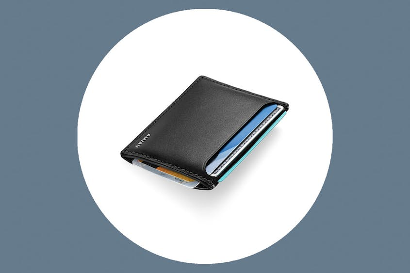 The Slim Card Holder includes RFID protection; it's available in Black and Coast.