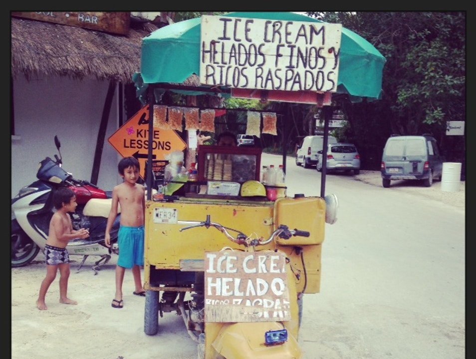 Home-made Ice Cream From a Scooter?  Por Su Puesto! Xelha  Mexico