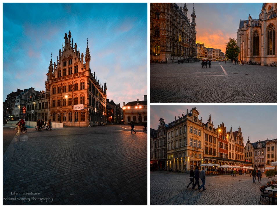 Fabulous sunset over a fabulous town Leuven  Belgium