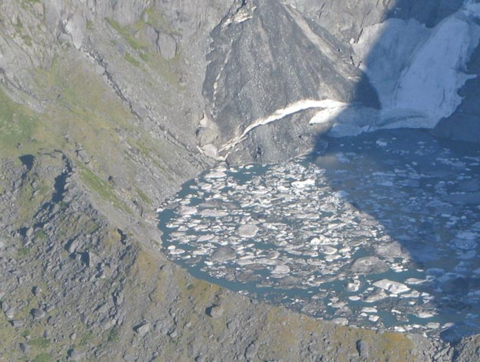 Bird's Eye View of Glacier Ice Floating in Lower Southern Alps Crater Lake