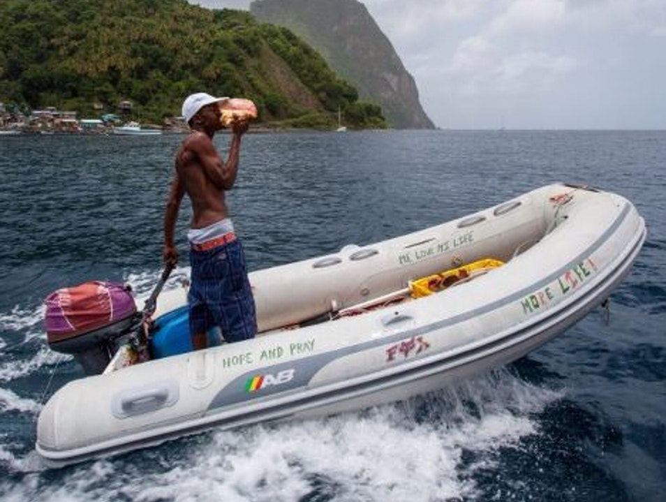 Conch Slinging Soufriere  Saint Lucia