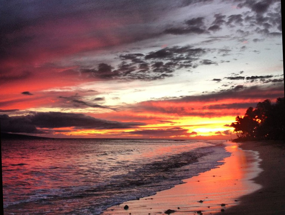 The Evening Light Show of Kaʽanapali Beach Lahaina Hawaii United States