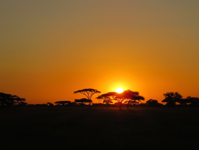 Having a beer and watching the sunset in the Serengeti